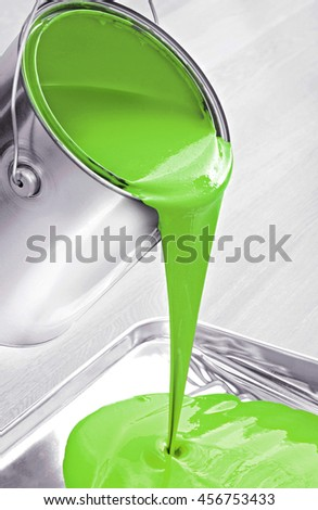 Green paint flowing