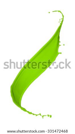 green paint splash isolated on white background - stock photo