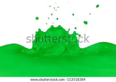 green paint splashing on white
