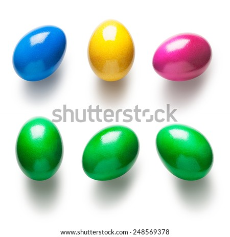 Green painted easter eggs collection isolated on white background - stock photo