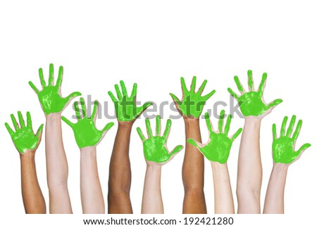 Green painted Hands. - stock photo