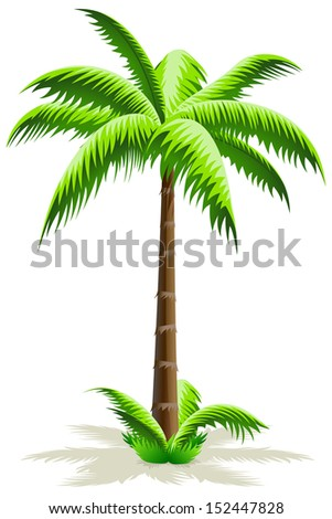 Green Palm Tree Icon with grass isolated on white