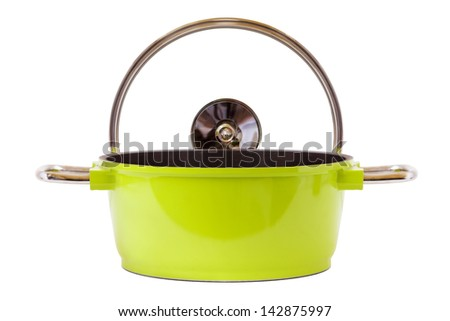 Green Pan and cooking top isolated on white