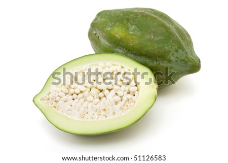 Green Papaya popular in Thai cooking and salads against white background. - stock photo
