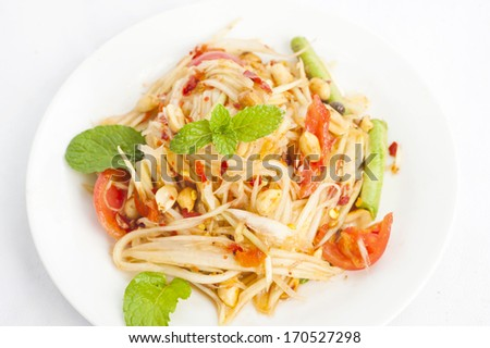 "Green Papaya Salad "" SOM TAM ""  - stock photo"