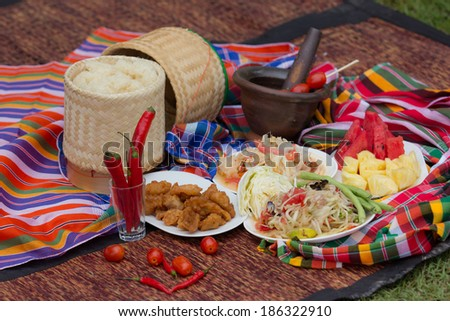 green papaya salad, somtum thai food  - stock photo