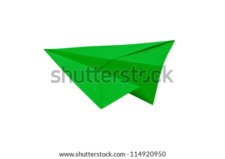 Green Paper aircraft, Paper Plane on a white background,