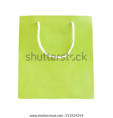 Green paper bag isolated on white with clipping path.
