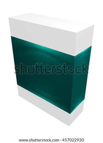 Green paper box for IT equipment, soft, product, delivery on white background isolated