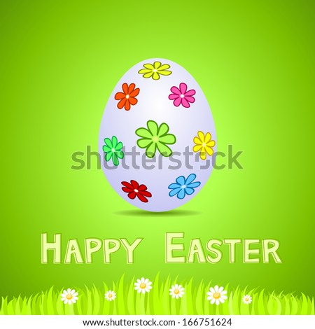 Green paper card with white ornate Easter egg