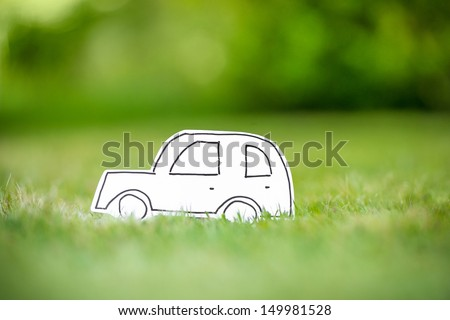 Green paper eco car - stock photo