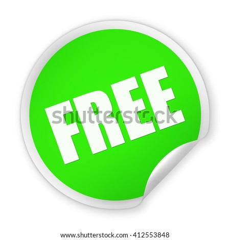 Green paper round Free sticker isolated over white background