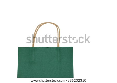 Green Paper shopping bag isolated on white background