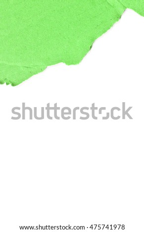green paper texture on white background