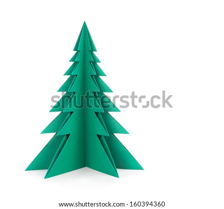 Green paper tree on a white background.  Clipping patch - stock photo
