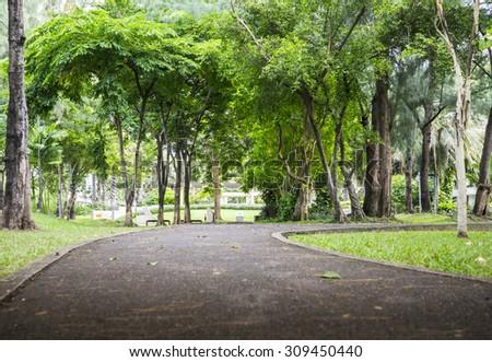 Green park in the city , Bangkok :Thailand - stock photo