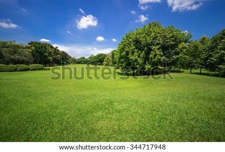 Green park outdoor with blue sky cloud - stock photo