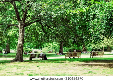 Green park with lawn, old big trees and benches in London, UK. Image with selective focus - stock photo