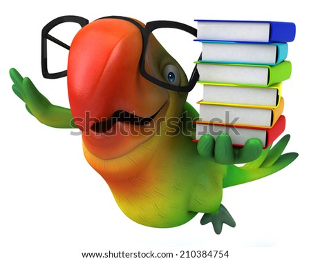 Green parrot - stock photo