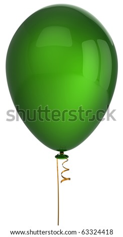 Green party balloon one single blank birthday celebration holiday decoration new years eve christmas anniversary retirement greeting card design element. 3d render isolated on white background - stock photo