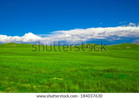 Green pastures in the highlands landscape