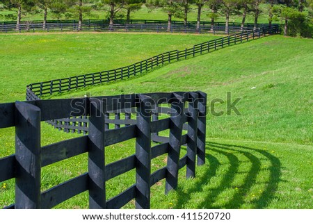Green pastures of horse farms. Countryside spring landscape. - stock photo