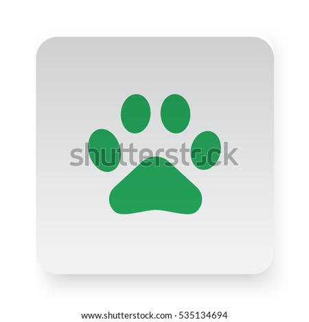 Green Paw Print icon in circle on white app button
