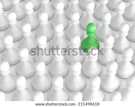 Green pawn standing out from the crowd, white chess pieces. - stock photo
