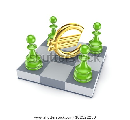 Green pawns around euro sign.Isolated on white background.3d rendered. - stock photo