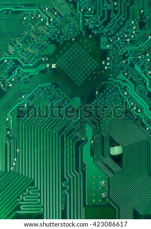 green pcb board with microchip socket integrated circuit semiconductor