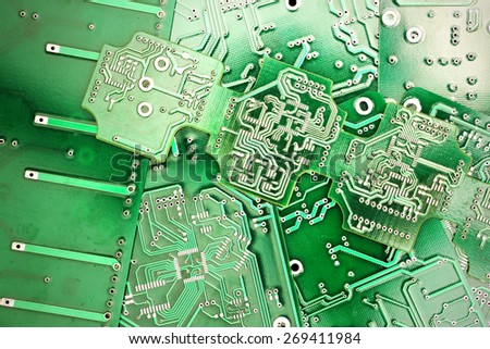 Green PCB close-up shot - stock photo