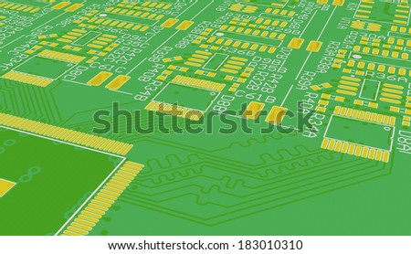 Green PCB of device without devices - stock photo