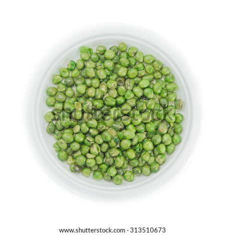 Green pea in disposable dish on white background