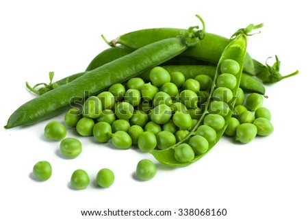 green pea pod, green peas, white background - stock photo