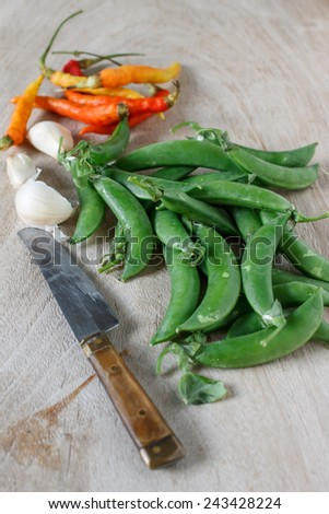 green pea with chili and garlic prepare for cook - stock photo