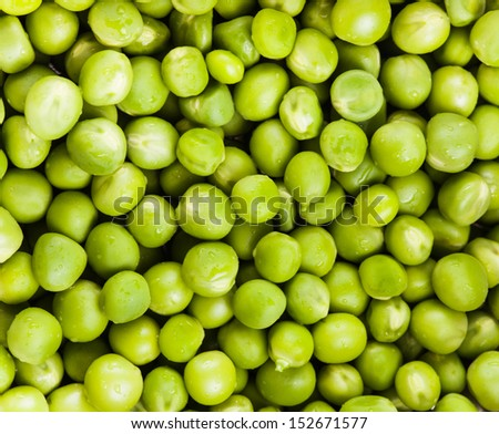 Green pea  with waterdrops scattered as a background