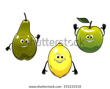 Green pear, apple and yellow lemon fruits logo in cartoon mascot style for bio food concept design. Vector version also available in gallery - stock photo
