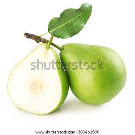 green pears isolated on the white background - stock photo