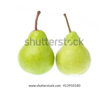 green pears isolated on white background - stock photo
