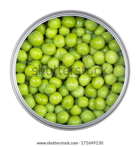 Green peas in can on a white background - stock photo