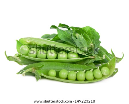 Green peas in stryuchka isolated on the white - stock photo