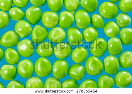 Green peas isolated on blue. Background from peas.