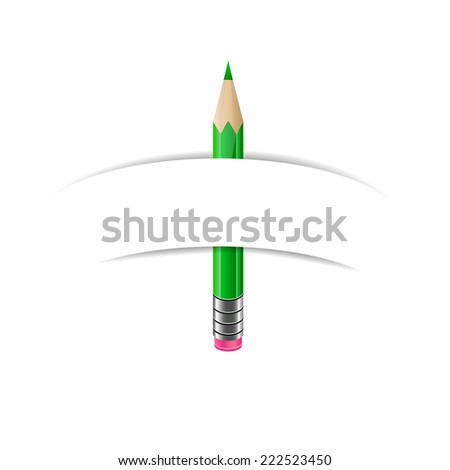 Green pencil and white blank paper banner - stock photo