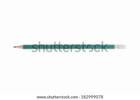 Green pencil isolated on white background - stock photo