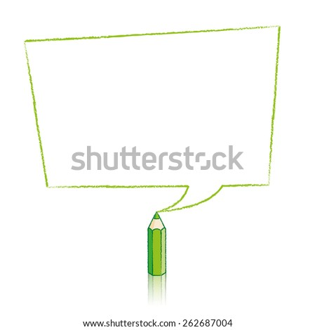 Green Pencil with Reflection Drawing Skewed Rectangle Shaped Speech Bubble on White Background - Raster - stock photo