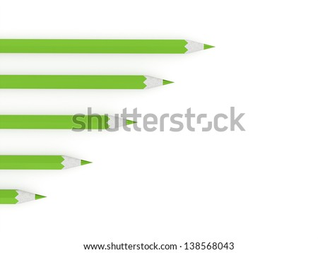 Green pencils concept rendered on white background