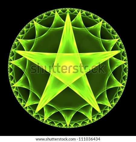 Green pentangle abstract fractal design for backgrounds and wallpapers - stock photo