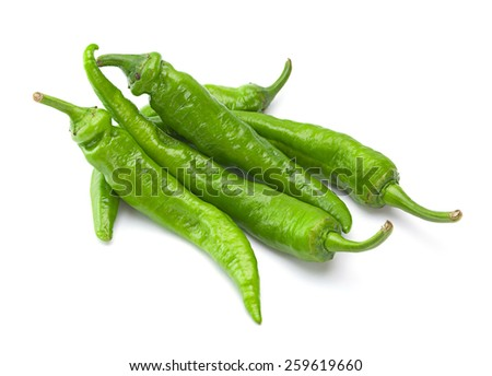 Green pepper isolated on white background - stock photo