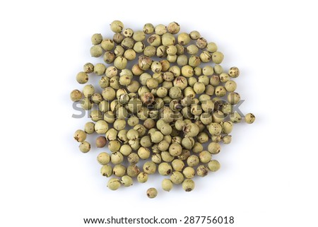 green pepper peppercorns isolated on white background