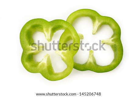 green pepper slice  on  white background - stock photo